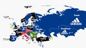 russia football map football s national team kit suppliers how they spread across