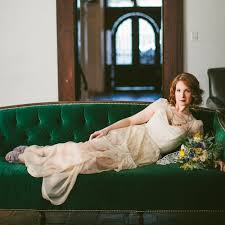 Emerald Green Velvet Sofa by Vintage Velvet Emerald Couch At Rustic Van Gogh Wedding Shoot With