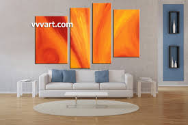 Living Room Paintings 4 Piece Orange Abstract Red Huge Canvas Art