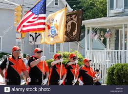 Flag Corps Members Of The Melrose Blackhawks A Nj Usa Based Drum And Bugle
