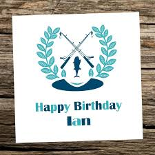 fishing birthday card personalised any age 40th 50th 60th