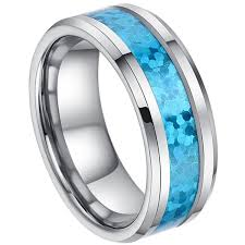 blue opal 8mm man or ladies tungsten carbide beveled edge hawaiian blue opal