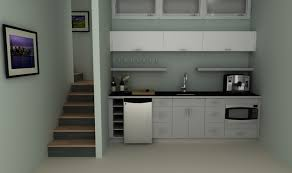 an ikea basement kitchenette with high gloss doors in abstrakt