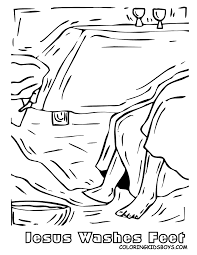 jesus washes feet coloring page coloring home