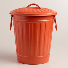 decorating amazing large coral retro metal trash can in orange