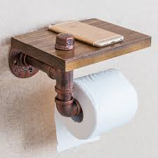 Wooden Toilet Paper Holder Retro Toilet Wooden Paper Holder With Phone Shelf Roll Paper