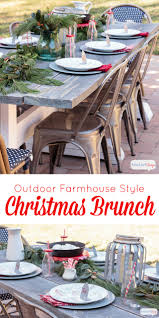 Galvanized Outdoor Chairs Outdoor Farmhouse Table Set For Christmas Brunch Atta Says