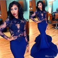 2017 royal blue prom dresses mermaid see through long sleeve lace