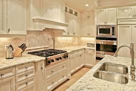 modern luxury kitchens modern luxury kitchen with marble countertops stock photo picture