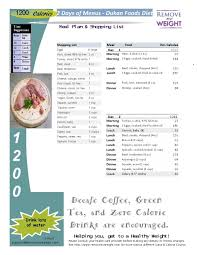 printable 1200 calorie dukan diet for weight loss with shopping list