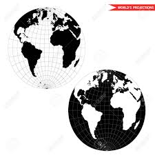 Map Projection Spherical World Map Projection Black And White World Map