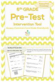 Common Core Math Worksheets 6th Grade Beginning Of The Year Common Core Pre Assessment