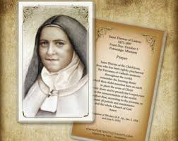 Prayer To St Therese The Little Flower - st therese holy card etsy