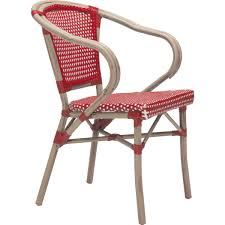Modern White Arm Chairs Zuo Modern 703800 Paris Outdoor Dining Arm Chair In Red U0026 White