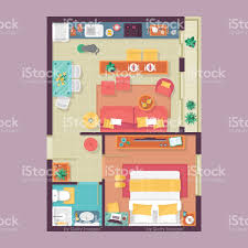 apartment floor plan top view furniture set for interior design