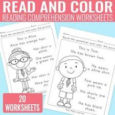 free read and color reading comprehension worksheet reading