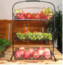 fruit basket stand sitting room fruit basin wrought iron three layers of fruit