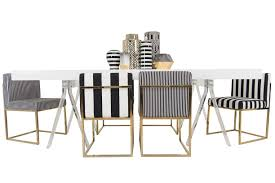Black And White Striped Dining Chair Furniture Dining Room With White Rectangle Table Using Stailess