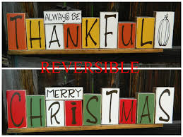 reversible holiday blocks always be thankful reverses with merry