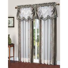 danbury embroidered pieced voile faux silk polyester curtain panel