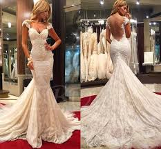 backless wedding dresses cap sleeve appliques lace mermaid backless wedding dress tbdress