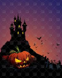 halloween background with castle bats and pumpkin vector image