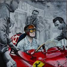 vintage ferrari art mike hawthorn in his lancia ferrari at the monaco grand prix by
