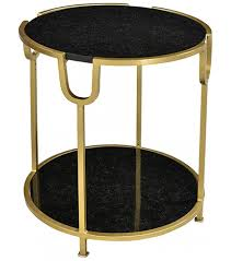 Accent Side Table Marble Top Gold Frame Accent Side Table