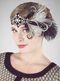 feather headband party girl flapper headband black and chagne feather headband