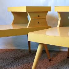 ATOMIC END TABLES Vintage S Mid Century Modern Blonde  Tiered - Mid century modern blonde bedroom furniture