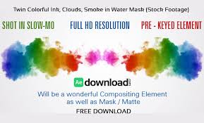 twin colorful ink clouds smoke in water mask after effects