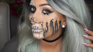 half halloween makeup melted glam skull halloween makeup youtube