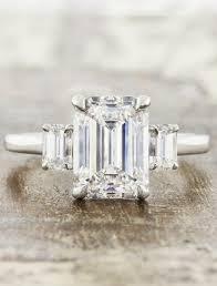3 engagement ring classic three emerald cut diamond ring ken