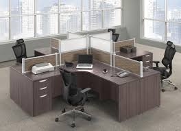 modern desks with drawers images of 4 person modern walnut desk pod with drawers and privacy