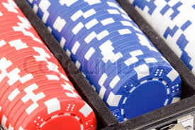 Small And Big Blind Stacks Of Chips For Poker With Buttons Of Dealer Small Blind And
