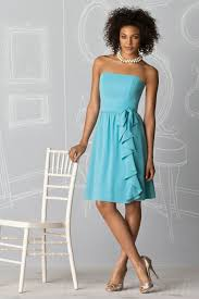 buy cheap strapless knee length baby blue short bridesmaid dress