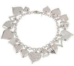 multi heart bracelet images Sterling 8 quot multi heart charm bracelet in gift box page 1