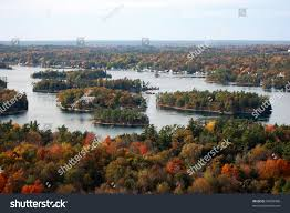 in fall thousand islands aerial view fall sky stock photo 94609900