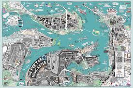 map port liz anelli illustration port of newcastle map