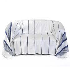 jeté de canapé blanc jeté de canapé rectangulaire 2x3m fond blanc et rayures bleu roi