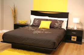 Bedroom Furniture Sets Full Size Bed Modern Black Painted Oak Wood Full Size Bed Frame Which Furnished