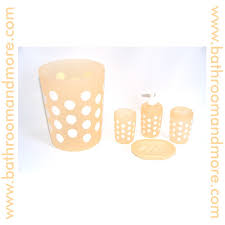Peach Bathroom Accessories by Polka Dot Peach Plastic Four Piece Bathroom Set Trash Can
