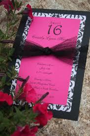 fuchsia black u0026 white sweet 16 birthday invitations 2 50 via