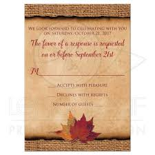 rustic ribbon rustic wedding rsvp card small autumn leaves faux burlap