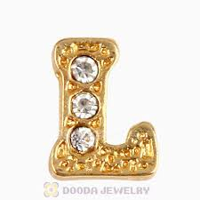 necklace charms wholesale images Gold plated alloy letter l with crystal floating locket charms jpg