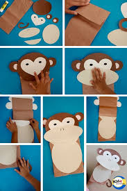 monkey paper bag puppet with free template how to make it