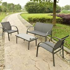 Costway PCS Patio Garden Furniture Set Steel Frame Outdoor Lawn - Outdoor furniture set