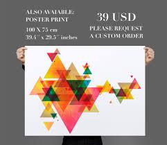 geometric triangles vinyl decal wall art mid century modern