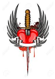 vector illustration heart and wings royalty free cliparts vectors