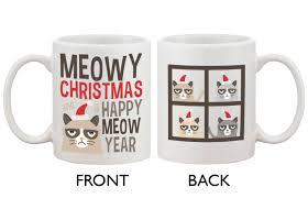 com cute grumpy cat holiday coffee mug meowy christmas and a